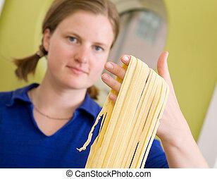 casalingo, pasta, fettuccine, dettaglio