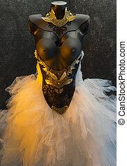 casamento, dress., leva, ouro, corset., feito à mão, metal, metais, pedaços, materiais, pretas, casório, gótico, precioso, pedaço, thermoplastic, renda