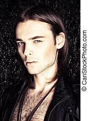 casanova face - Fashion shot. Handsome sexual young man in...