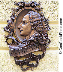 Casanova - bronze statue of Casanova in Lviv. Ukraine