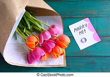 casar, buquet, obrigação, mim, flores, mensagem, nota, anel