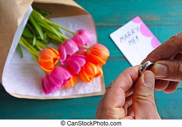 casar, obrigação, mim, homem, sobre, mensagem, segura, nota, anel
