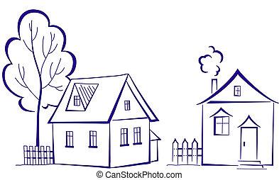 casas, árbol, pictogram