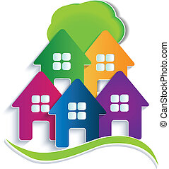 casas, árvore, logotipo