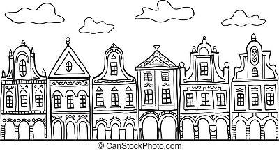 casas, adornado, viejo, ilustración, aldea