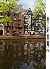 casas, antigas, Amsterdão