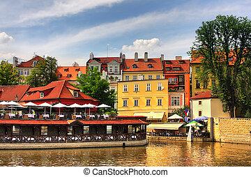 casas, antigas, Praga, coloridos