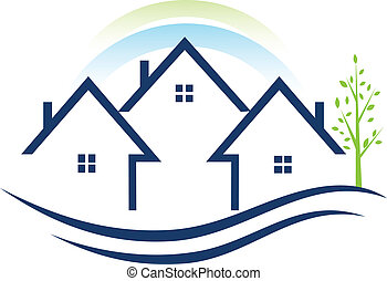 casas, apartamentos, con, árbol, logotipo