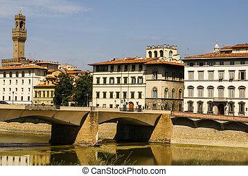 casas, arno río, y, ponte vecchio, puente, de, florencia, toscana, italia