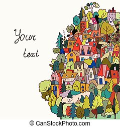 casas, bandera, bosque, tarjeta, o