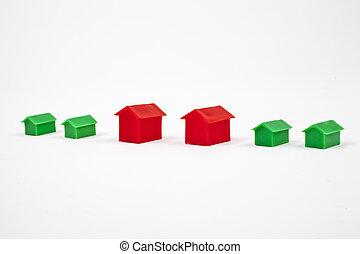 casas, caja, propiedad, /