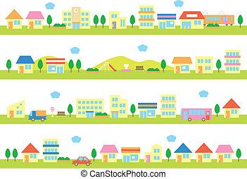 casas, calle, tiendas
