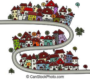 casas, caricatura, desenho, cityscape, seu, estrada