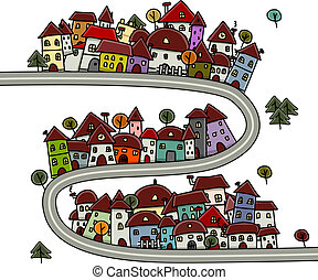 casas, caricatura, diseño, cityscape, su, camino