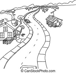 casas, caricatura, esboço, estrada, dois