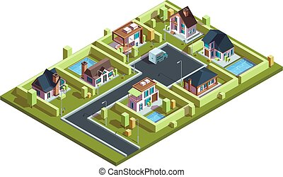 casas, cidade, infraestrutura, mapa, townhouses, vila, suburbano, cabana, isometric, vetorial, residencial, modernos, isometric., pequeno