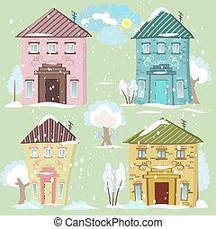 casas, colección, lindo