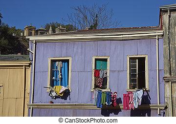casas, colorido, valparaiso