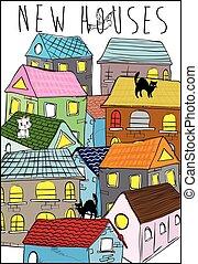 casas, coloridos