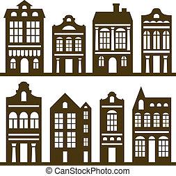 casas, conjunto, silueta