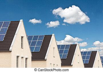 casas de la fila, paneles, solar, nuevo
