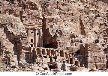casas, de, petra, ciudad, en, jordania, en el medio, este