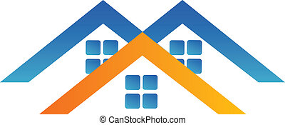 casas, desenho, logotipo