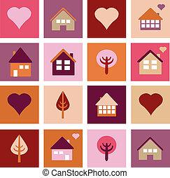 casas, diferente, jogo, árvores