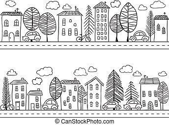 casas, doodles, seamless, padrão