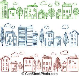 casas, doodles, seamless, patrón