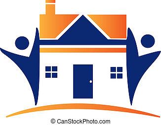 casas, e, figuras, logotipo