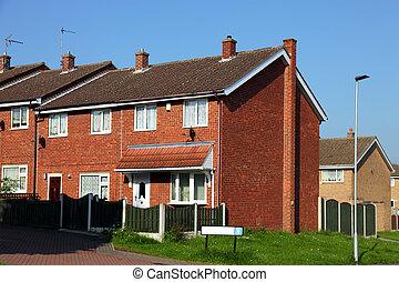 casas, en, un, típico, inglés, residencial, propiedad