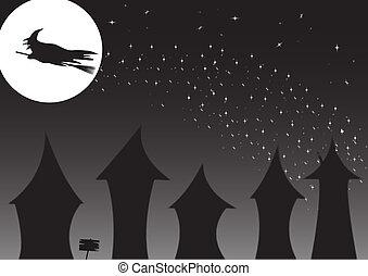 casas, encima, bruja