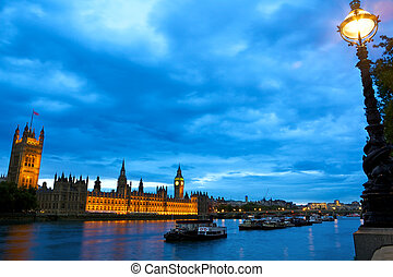 casas, encima, parlamento, thames