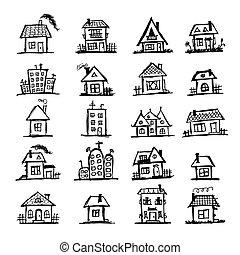 casas, esboço, arte, seu, desenho