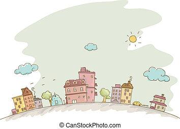 casas, esboço, fundo