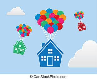 casas, flutuante, balões