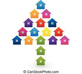 casas, forma, árvore, coloridos, logotipo
