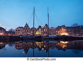 casas, holandês, barcos, típico