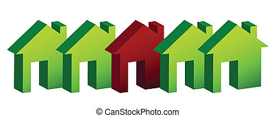 casas, ilustração, fila, desenho
