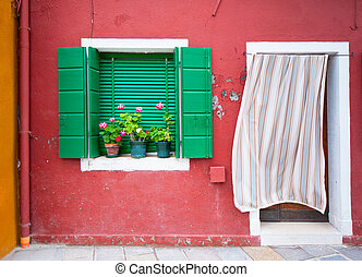 casas, italia, burano, colorido, venecia