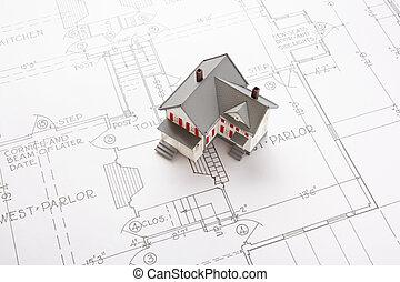 casas, ligado, blueprint