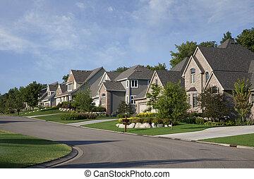casas, ligado, upscale, suburbano, rua, em, manhã, luz solar