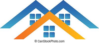 casas, logotipo, desenho
