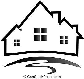 casas, logotipo, silueta