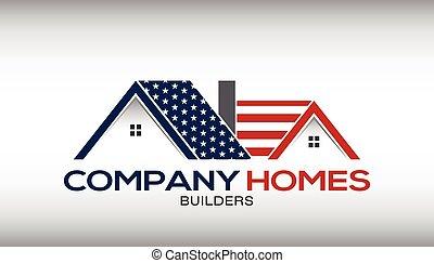 casas, negócio americano, cartão, logotipo
