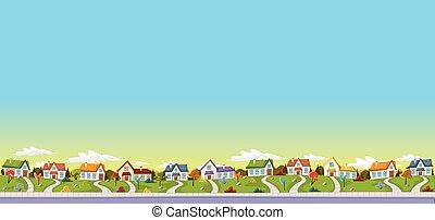 casas, neighborhood., coloridos, subúrbio
