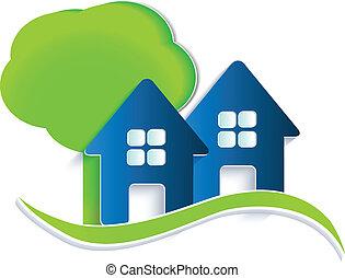 casas, ondas, árbol, logotipo