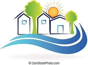 casas, ondas, y, sol, logotipo