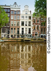 casas, Países Baixos, antigas, Amsterdão